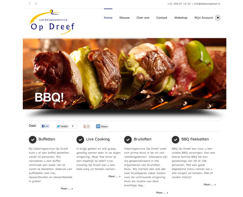 Studio CC: website met geïntegreerde webshop voor Cateringservice Op Dreef